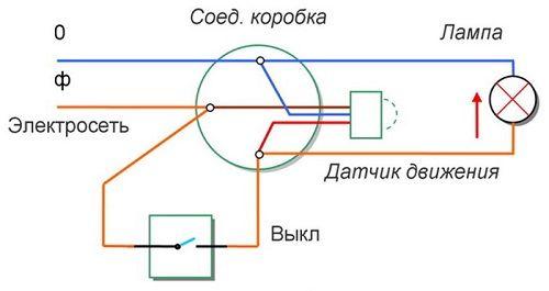 Схема освещения с датчиком движения и выключателем
