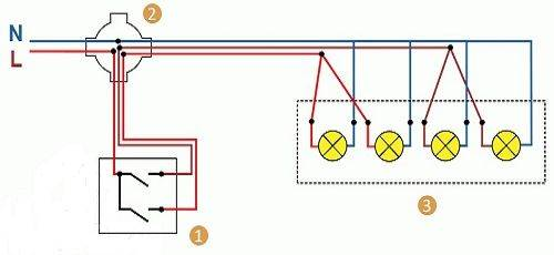 Как подключить два провода к трем