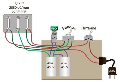 Anschließen eines Drei-Phasen-Motor zu einem einphasigen Netz