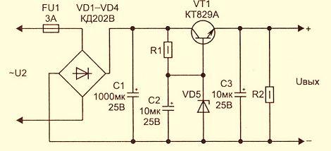 Простой стабилизатор напряжения схема 220 аппарат сварочный са