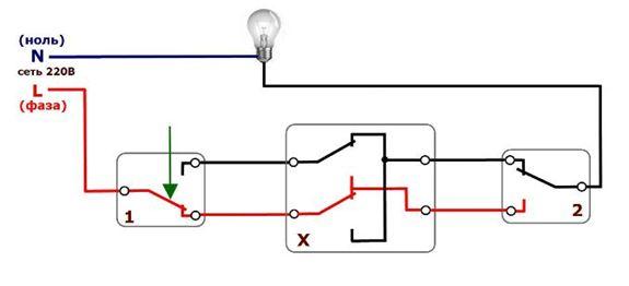 При обратном нажатии клавиши свет гаснет