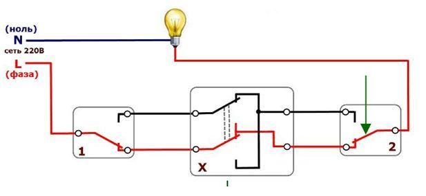 При включении устройства №3 лампа горит