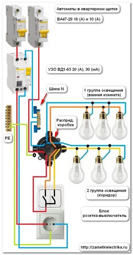 Схема совмещенной электрической группы