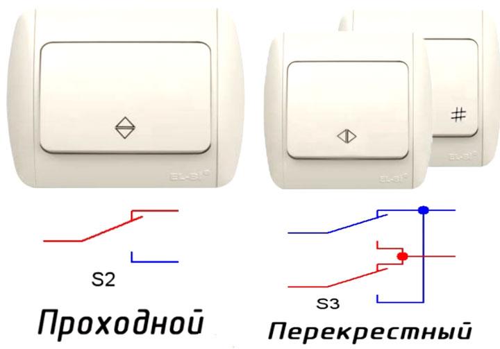 разница между проходным выключателем и перекидным вид спереди и схема