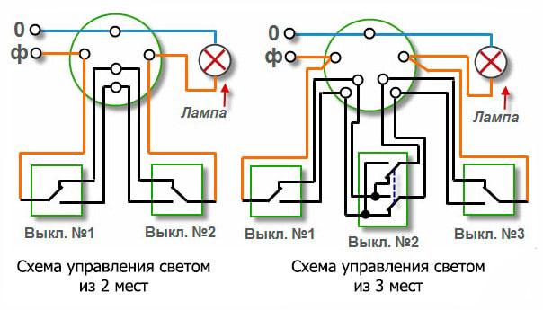 схема подключения проходных и перекрестных промежуточных выключателей