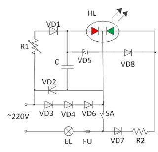 схема индикатора напряжения на двухцветном светодиоде