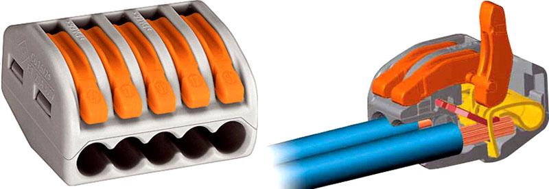 Внутреннее устройство клеммы с рычажками