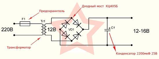 Классическая схема диодного моста на 12 вольт