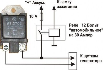 Схема реле-регулятора напряжения