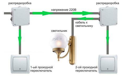 Схема подключения переключателей освещения