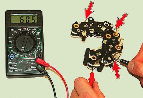 Как проверить заряд генератора мультиметром