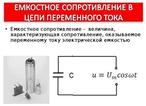 Формула емкостного сопротивления
