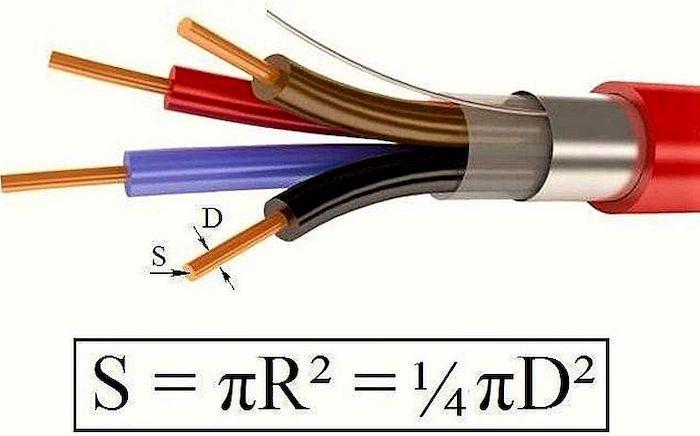 Сечение провода (кабеля) по диаметру: формула, таблица